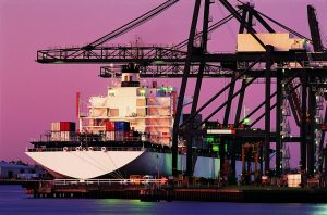 container ship at port at night managed by shipping and freight forwarding software