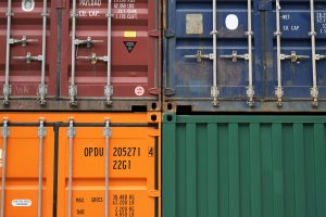 Colorful containers managed using logistics software