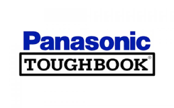 Logo of Panasonic Toughbook showing our supply chain software works with their systems