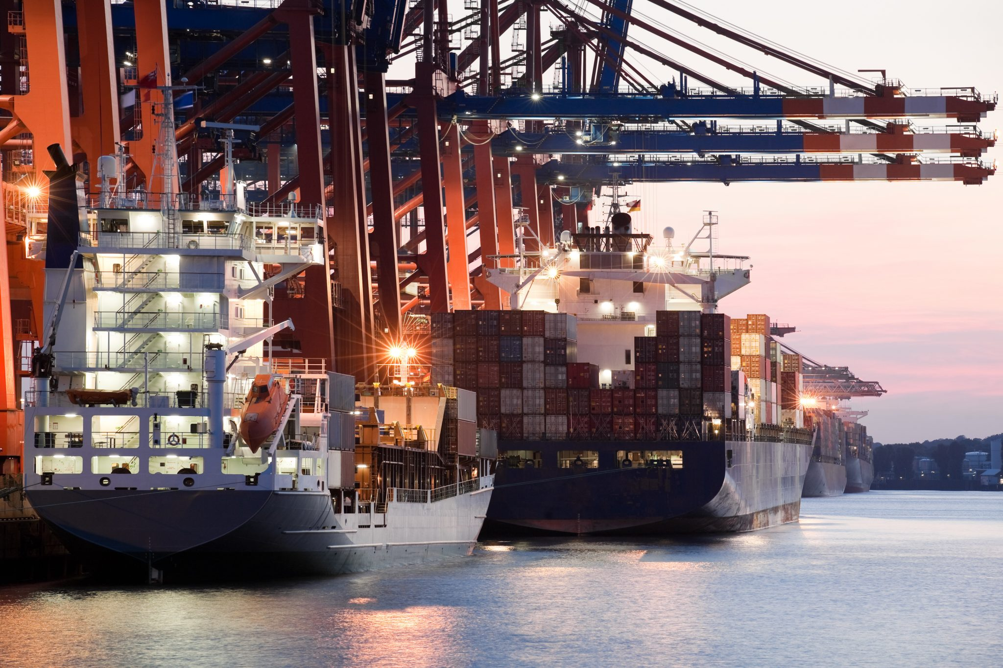 Cargo ships at port being loaded using international shipping software